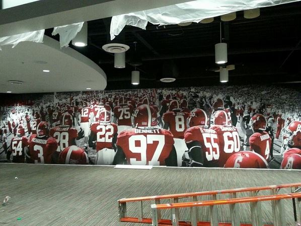 A glance at alabama football 39 s locker room renovations for Alabama football mural