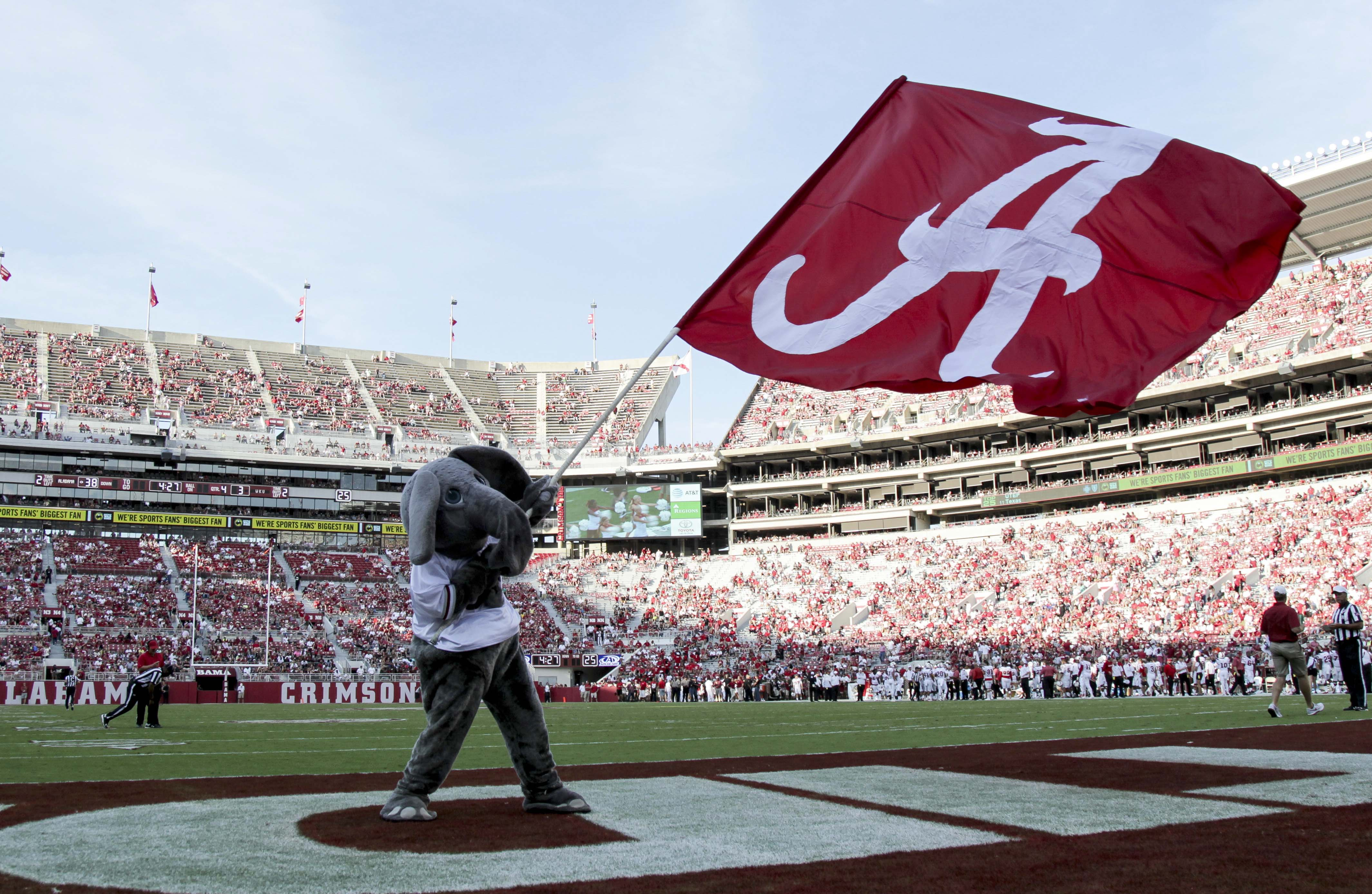 Alabama football daily insider spring depth chart sep 10 2016 tuscaloosa al usa alabama crimson tide mascot big al waves a flag during the game against the western kentucky hilltoppers hilltoppers at nvjuhfo Choice Image